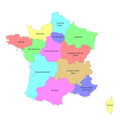 High quality colorful labeled map france vector