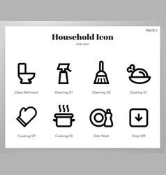 Household icons line pack vector