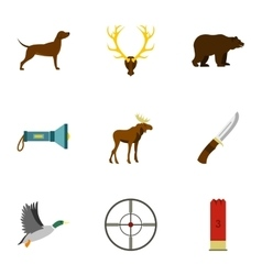 Hunting of animals icons set flat style vector