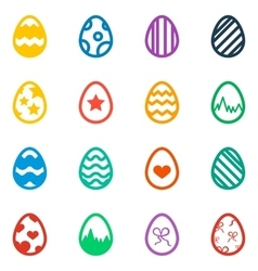 Icon set of colored Easter eggs Holiday icon vector
