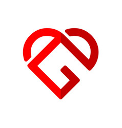 Initial letter g logo template with heart or love vector