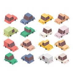 isometric car set isolated vector image
