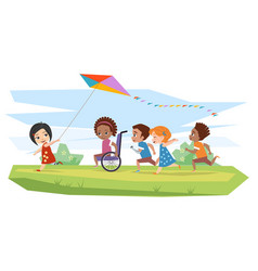 Joyful disabled children and healthy run vector