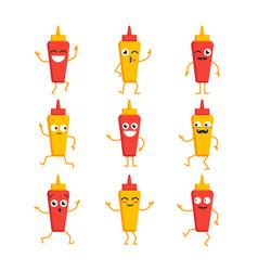 Ketchup and mustard- set of mascot vector