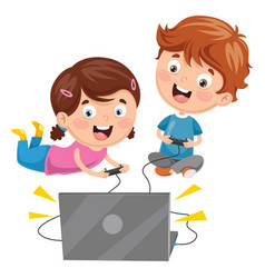 Kids playing video game vector