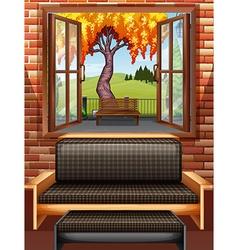 Living room with window open vector