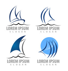 logo concept design sailboat set symbol graphic vector image