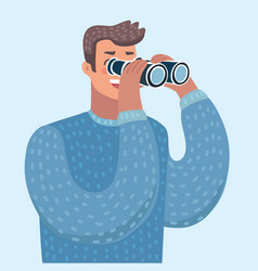 man with binoculars vector image