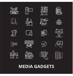 media gadgets editable line icons set on vector image