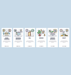 Mobile app onboarding screens banking icons vector