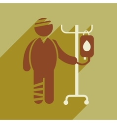Modern flat icon with long shadow injured patient vector