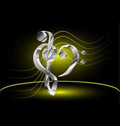 Music note stave and heart violin and bass clef vector