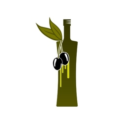 Natural olive oil bottle icon vector image