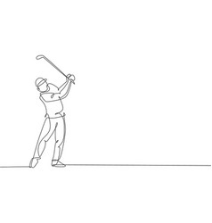 one single line drawing young sporty golf vector image