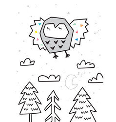 owl flying over forest trendy scandinavian vector image