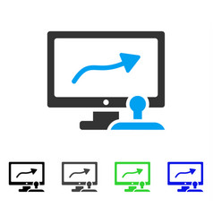 Path control monitor flat icon vector