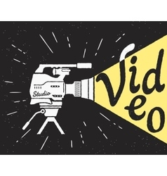 Professional video camera with yellow light and vector