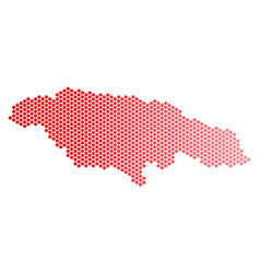 red dotted jamaica map vector image