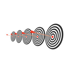 Red target with arrow flat style long shadow vector