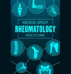 Rheumatology joints and rheumatic disorder poster vector