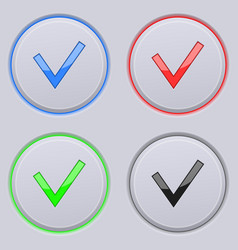 round gray buttons with check sign colored set vector image