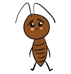 sad cockroach on white background vector image