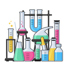 science equipment in chemistry laboratory vector image