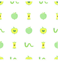 Seamless pattern with apples and worms vector