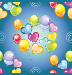 seamless pattern with colorful balloons on blue vector image