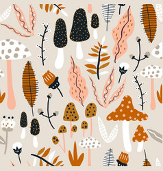 Seamless woodland pattern with mushrooms vector