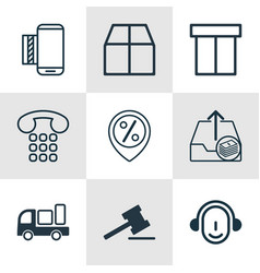 Set of 9 commerce icons includes discount vector