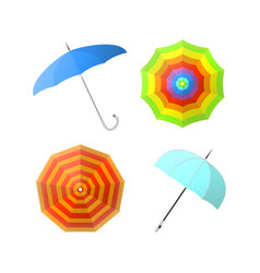 Set of colorful umbrellas from different angles vector