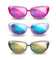 Set of disco glasses vector