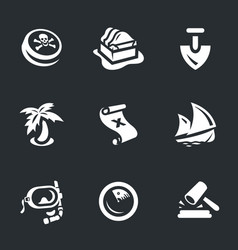 Set of treasure icons vector