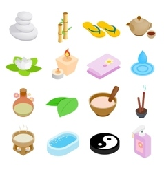 Spa isometric 3d icons set vector image