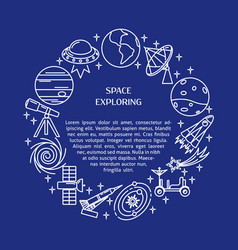 space elements round concept banner in thin line vector image