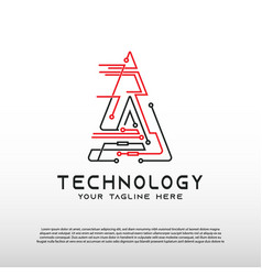 Technology logo with initial a letter element vector