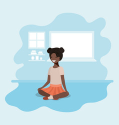 Teenager black girl sitting avatar character vector