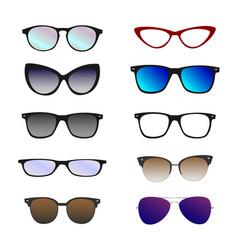 trendy color eyeglasses sunglasses set on white vector image