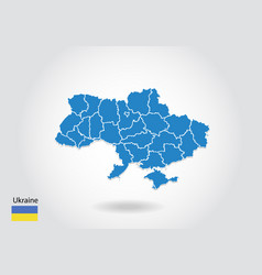 ukraine map design with 3d style blue ukraine map vector image