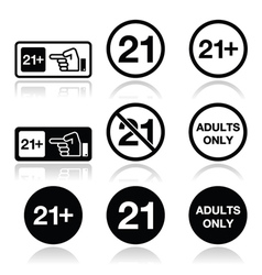 Under 21 adults only warning sign vector image