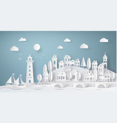 Urban countryside landscape city village vector