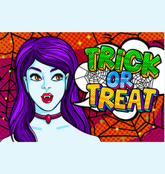 vampire girl and trick or treat vector image