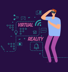 virtual reality concept with line social vector image