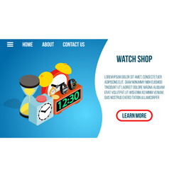 watch shop concept banner isometric style vector image