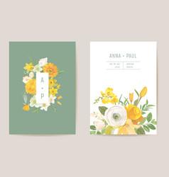 wedding spring flowers invitation card floral vector image