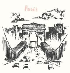 Arch of Triumph Paris vintage drawn vector image vector image