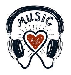 i love music hand drawn headphones design element vector image