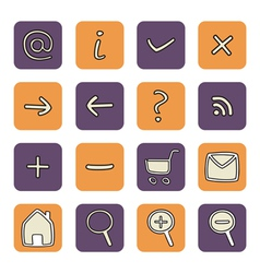 Icon or button violet and orange tool set vector image
