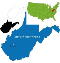 West virginia map vector image vector image